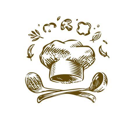 Hand-drawn  cooking. Vintage vector illustration. Menu design for restaurant and cafe Çizim