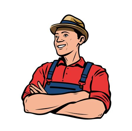 Happy farmer in hat. Agriculture, farming retro vector illustration