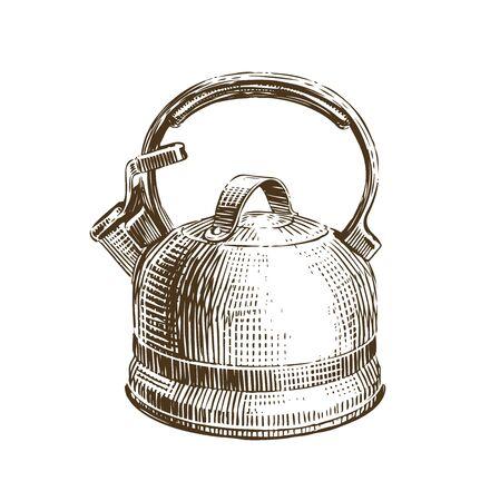 Hand-drawn retro kettle. Teapot sketch vector illustration