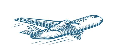 Flying airplane sketch. Air transportation, airline, retro plane vector illustration Illustration