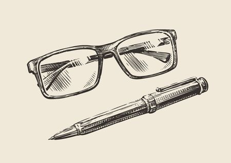 Hand-drawn sketch glasses and pen. Business, education retro vintage vector