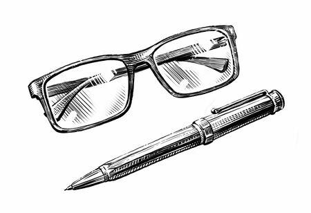 Hand-drawn sketch glasses and pen. Business, education retro vintage illustration