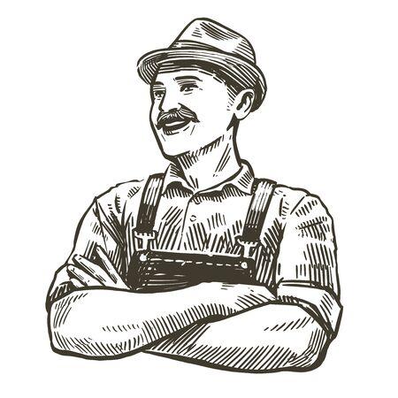 Hand-drawn sketch happy farmer. Farming, agriculture vintage vector illustration