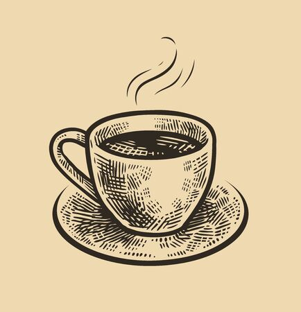 Hand-drawn sketch cup of coffee. Vintage vector illustration. Menu design for cafe and restaurant