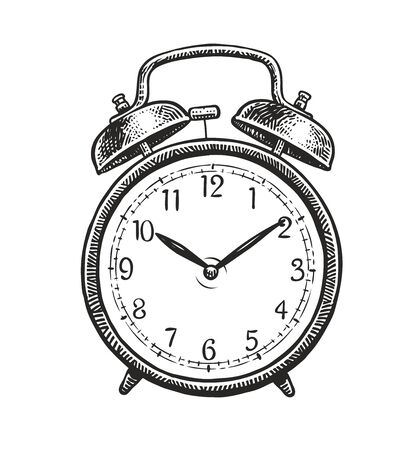 Retro alarm clock sketch isolated on white
