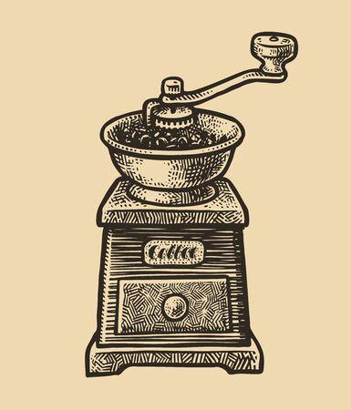 Coffee grinder sketch. Vintage vector illustration. Menu design for cafe and restaurant
