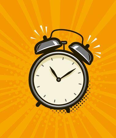 Ringing alarm clock. Retro comic pop art vector Illusztráció