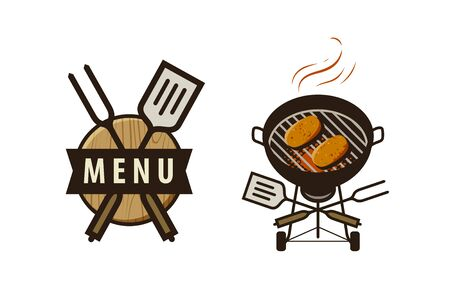 BBQ, barbecue logo or label. Menu design for cafe and restaurant 向量圖像