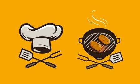 Food logo or label. BBQ, barbecue vector illustration