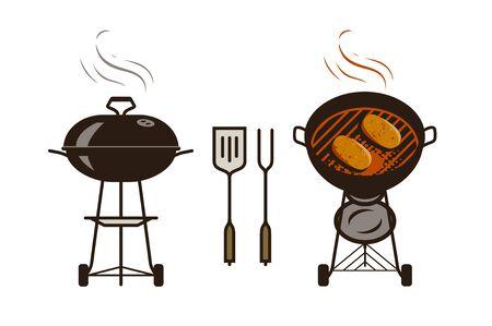Barbecue, bbq logo or label. Brazier, food vector illustration