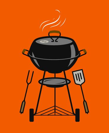 Barbecue grill, cookout. BBQ, brazier vector illustration