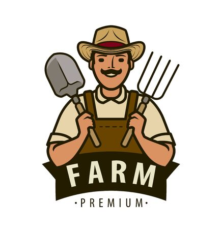 Farm label. Agriculture, farmer vector illustration