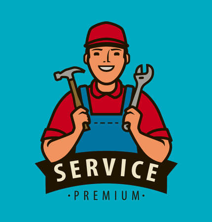 Service, repair . Builder with tools in hands vector illustration