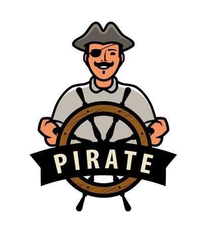 Pirate with ship steering wheel. Vector illustration Illusztráció