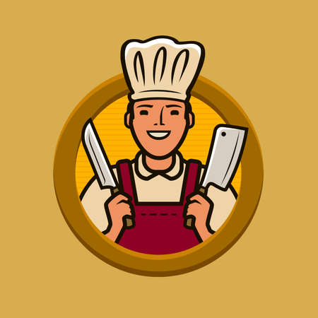 Butcher shop logo or label. Chef with knives vector illustration