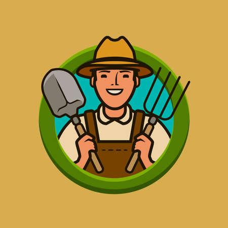 Farmer logo or label. Agriculture, farm vector illustration