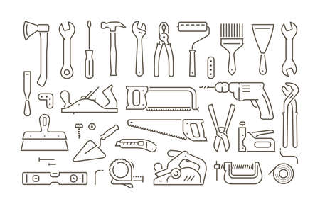 Tools set of icons in linear style. Repair vector illustration