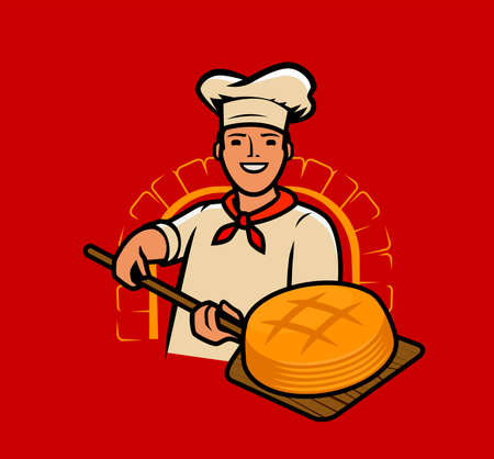 Cook bakes bread. Chef, baker cartoon vector Vettoriali