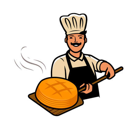 Cook with bread. Bakery, bakehouse, bakeshop vector