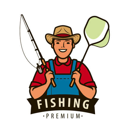 Fisherman with fishing rod logo. Fishery concept