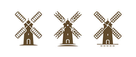 Windmill logo or symbol. Agriculture, bakery, farm, food concept