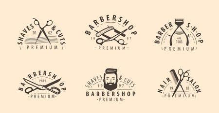 Barbershop symbol or logo. Hairdressing salon, beauty concept