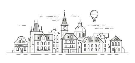 Cityscape with historic buildings. Town, city vector illustration Ilustração