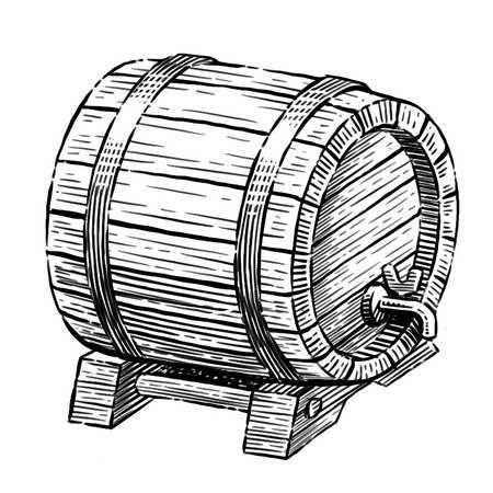 Wooden barrel with faucet sketch. Hand drawn vintage illustration