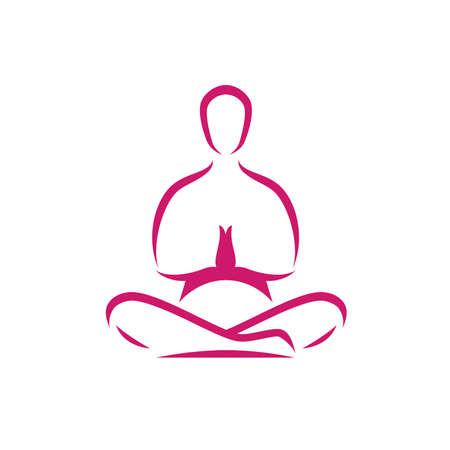 Yoga logo. Meditation, man in lotus position symbol