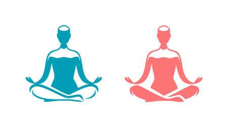 Yoga logo. Man sitting in lotus position symbol Illustration