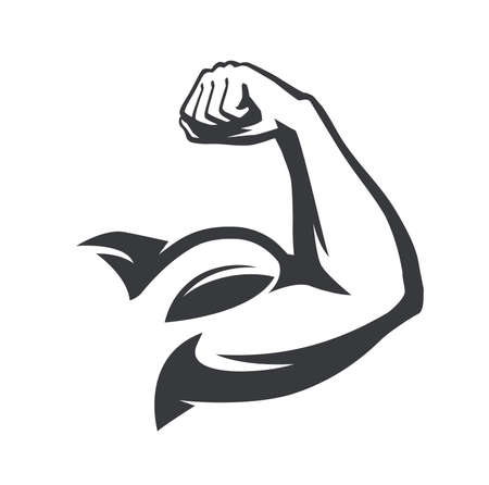 Muscular arm with clenched fist. Gym, power symbol Vector Illustration