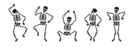 Funny skeleton symbol. Halloween concept vector illustration