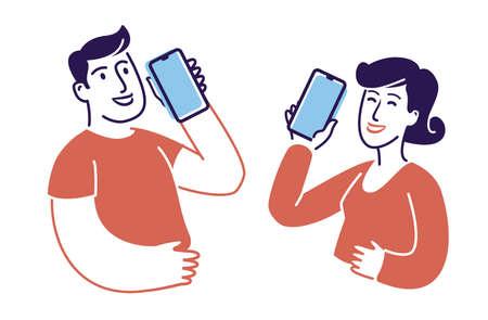 People talking on smartphones symbol. Communication concept vector illustration