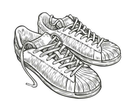Sport shoes sketch. Hand drawn vintage vector illustration