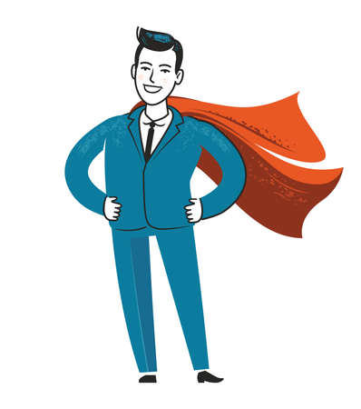 Businessman superhero. Business success vector illustration in flat style Ilustração