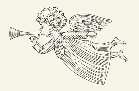 Flying angel messenger. Sketch vintage vector illustration Ilustrace