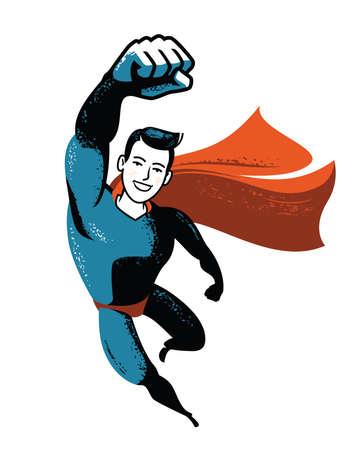 Flying superhero. Business success vector illustration