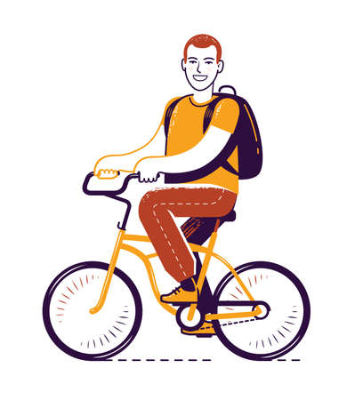 Bike riding. Bicycling, travel concept vector illustration