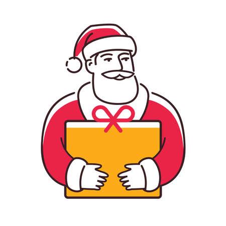 Santa Claus with gift. Christmas symbol vector illustration
