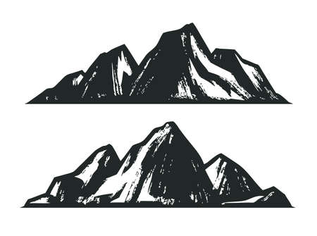 Mountains sketch. Mountaineering vintage vector illustration