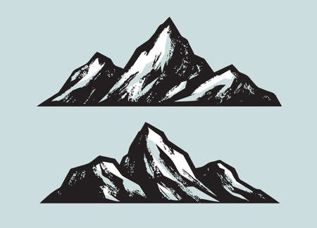 Mountains. Climbing, mountaineering sketch vector illustration 矢量图像