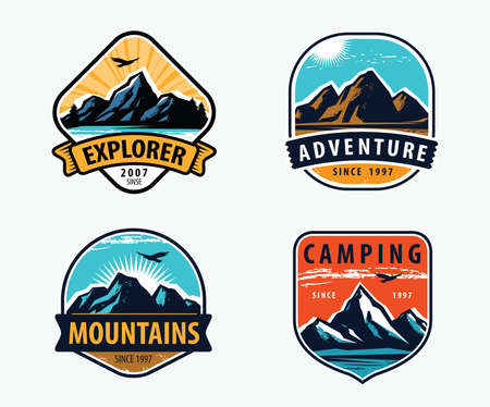 Mountains set labels. Mountaineering, climbing, hiking vector illustration 矢量图像