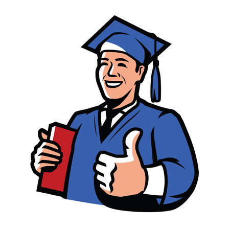 Graduate with diploma. Education, college, high school vector illustration 向量圖像
