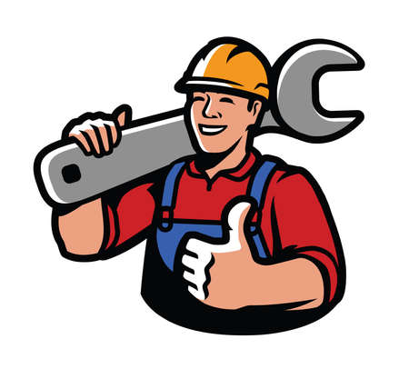 Construction worker with wrench. Repairs, industry vector illustration