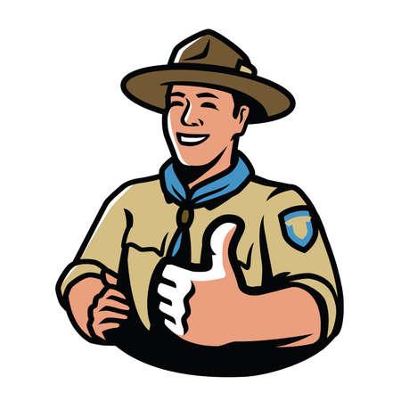 Park ranger in uniform. Scout, camping symbol vector illustration