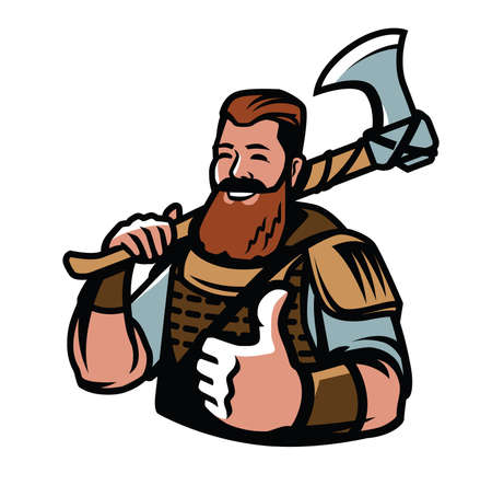 Nordic viking mascot. Warrior, barbarian sport logo vector illustration