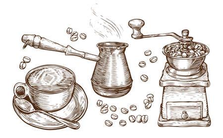Coffee sketch. Drink concept vintage vector illustration Çizim