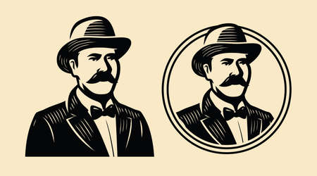 Gentleman, sir symbol. Portrait of businessman vintage sketch vector illustration Vettoriali