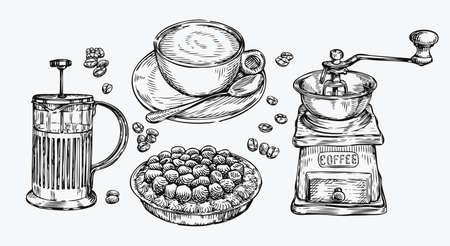 Coffee sketch. Food concept hand drawn vintage vector illustration Çizim