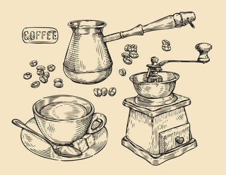 Coffee vintage. Drink sketch vector illustration Çizim